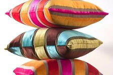 SALE Velvet throw pillow cover Luxury Teal Blue Green Brown Stripe Toss Cushion