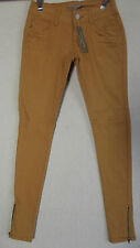 Womens ROMEO & JULIET COUTURE 24 MUSTARD GOLD SKINNY ANKLE JEANS $140 zip legs