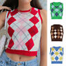 Women's V-Neck Vintage Sweater Sleeveless Vest Tank Plaid Knit Sweaters Tops