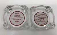 Vintage Advertising Glass Ashtrays Sander's Seattle Motel Great Falls Montana