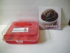 NEW SUREFRESH 9 CUPCAKE MUFFIN HOLDER CONTAINER CARRIER & RECIPE BOOK CLEAR LID