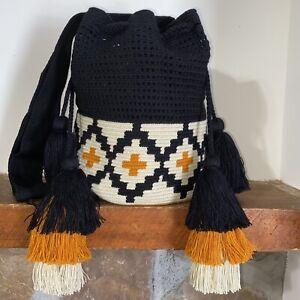 Authentic 100% Wayuu Mochila Colombian Bag Large Size Half Net Tier Tassels