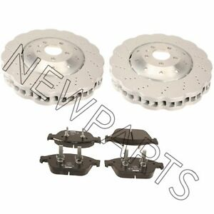 For Audi RS7 Set of 2 Vented Drilled Dimpled Disc Brake Rotor & Pads OEM