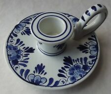 VINTAGE DELFTS BLAUW HOLLAND BLUE & WHITE CHAMBER CANDLE STICK HOLDER NAPPY