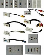 Modular Faceplate Multi Media Wallplate Stub HDMI/SVGA/Jack/RJ45/RCA/Displayport