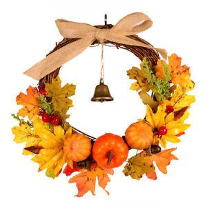 Halloween Autumn Maple Leaf Garland Pumpkin Wreath Door Thanksgiving Home Decor