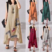 Mode Femme Loose Sleeveless Floral Asymétrique Longueur Loose Dress Robe Plus