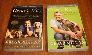LOT OF 2 CESAR MILLAN DOG TRAINING MANUALS CESAR'S WAY + CESAR'S RULES