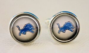 Detroit Lions Cufflinks made from Football Cards Upcycled, Gift for Men, Dad