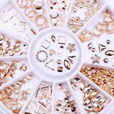 Rose Gold Rivet Alloy 3D Nail Art Decoration in Wheel Nail Studs Star Round DIY