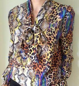 John Zack  Pussybow  Blouse Shirt Top   Leopard Animal Print