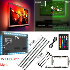 TV LED Backlight 4 x 50CM USB RGB 5050 Strip Light Remote Kit 5V 30Leds/M
