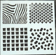Mixed Media Stencil 4 PATTERNS Stripes Boxes Dots Mesh Mask Template approx 13cm