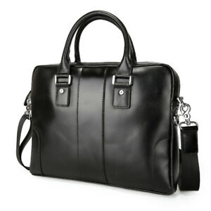 "Men Real Leather Office Briefcase 14"" Laptop Bag Shoulder Bag Satchel Attache"