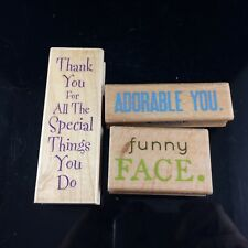 3 PIECE WOOD MOUNTED RUBBER STAMP LOT - THANK YOU ADORABLE YOU FUNNY FACE QUOTES