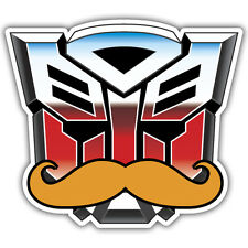 ROBOT IN DISGUISE STICKER autobot transformer sticker with moustache 90x75mm