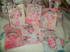 Set of 6 Altered Art Vintage Debi Jo Brides Gift Tags Ornaments Handmade Glitter