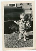 Antique Snapshot Photo - Cute Little Boy, Curly Hair - Summer Suit Outside /Car