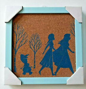 Disney's Frozen Cork Board Picture Frame, Blue New Elsa and Anna Sisterly Love