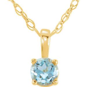 "Genuine Aquamarine ""March"" Birthstone 14"" Necklace In 14K Yellow Gold"