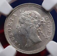 1891 Straits Settlements 5 Cents KM# 10 Silver Coin NGC UNC Details RARE