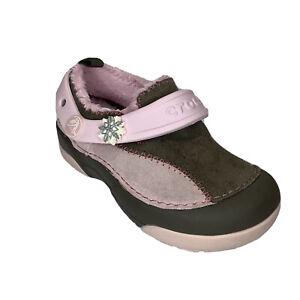 Crocs Dawson girls size C 9 Toddlers Pink & Brown Suede Fur Lined Clog slip-on