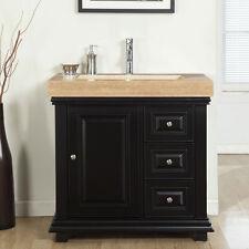 "36"" Modern Bathroom Single Vanity Travertine Stone Sink Lavatory Cabinet 285T-L"