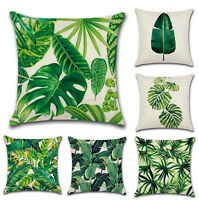 Green Tropical plant Leaf Pillow Case Cotton Linen Sofa Cushion Cover Home Decor