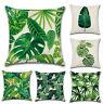 Tropical Plant Print Linen Waist Throw Pillow Case Sofa Cushion Cover Home Decor