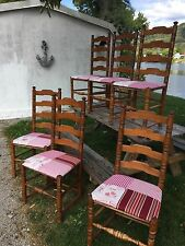 Set 6 French Style Maple Dining Chairs with Table Toile  Grandmas Estate