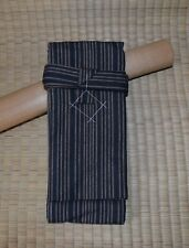 Japanese Sword Bag Cotton Lined shirasaya Blue striped Tanto Size