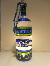 Seattle Seahawks Inspiered Bottle Lamp handpainted Stained Glass look lighted