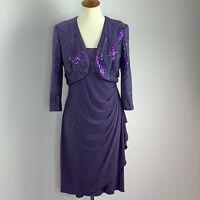 Alex Evenings Womens Dress Jacket Set Embellished Purple Sequin Waterfall Size 8