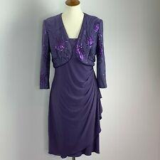 Alex Evenings Womens Dress Jacket Set Embellished Purple Sequin Waterfall Size 8