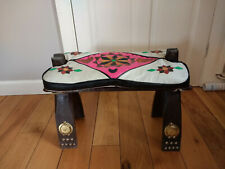 Vintage Retro Roman Style Wood Curule Seat Stool Chair With Leather Cushion