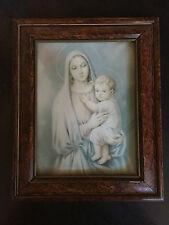 Quadro Arte Sacra Madonna con Bambino stampa vintage anni 30 cornice in legno