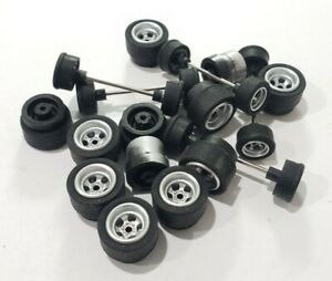Autoworld 4 Gear tire and wheel parts lot New take offs Aurora AFX Tyco