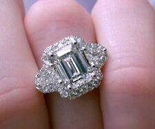 4.75 ct G VS2 emerald cut diamond 3 stone antique halo handmade ring 18k gold