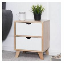 Costway 2 Drawer Wooden Bedside Table, Natural and White