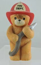 1984 Enesco Fireman Firefighter Bear w/ Hose Fire Dept Figurine Lucy Rigg