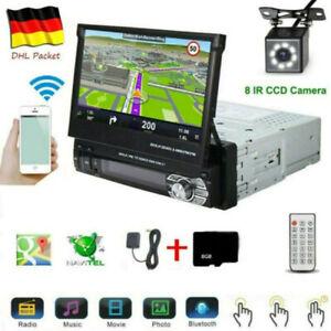 "7"" 1DIN AUTORADIO MIT GPS NAVIGATION NAVI BLUETOOTH TOUCH SCREEN USB  TF MP3"