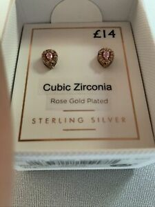 Sterling Silver Rose Gold Plated Cubic Zirconia Earrings By Next, Brand New