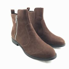 H&M Booties Womens Size 38 US 7 Brown Suede Short Ankle Zip Casual Boots Shoes