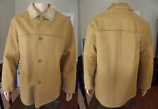 NICE! Men's camel GENUINE LEATHER tan jacket RANCHER coat sherpa MEDIUM