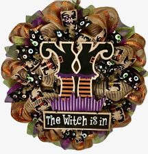 The Witch Is In Halloween Handmade Deco Mesh Wreath