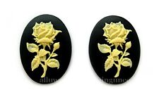 2 NEW IVORY color Long Stem Rose on BLACK 40mm x 30mm Costume Jewelry CAMEOS