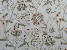 Crewelwork No2 Embroidered Wool on Cotton Curtain Fabric 3.45m