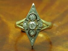 14kt 585 Bicolore Oro Art Deco Anello con 0,33ct Brillante & Diamante Trim /