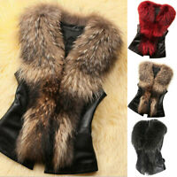 Womens Faux Fur Fluffy Vest Coat Warm Open Front Waistcoat Gilet Jacket Outwear