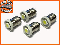 4x E10 LED Bulbs Screw Fit Replaces Smiths Interior Gauges For Classic Cars